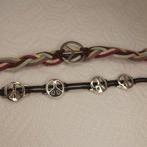 2 Bracelets Aeropostale Peace Sign Silver Tone